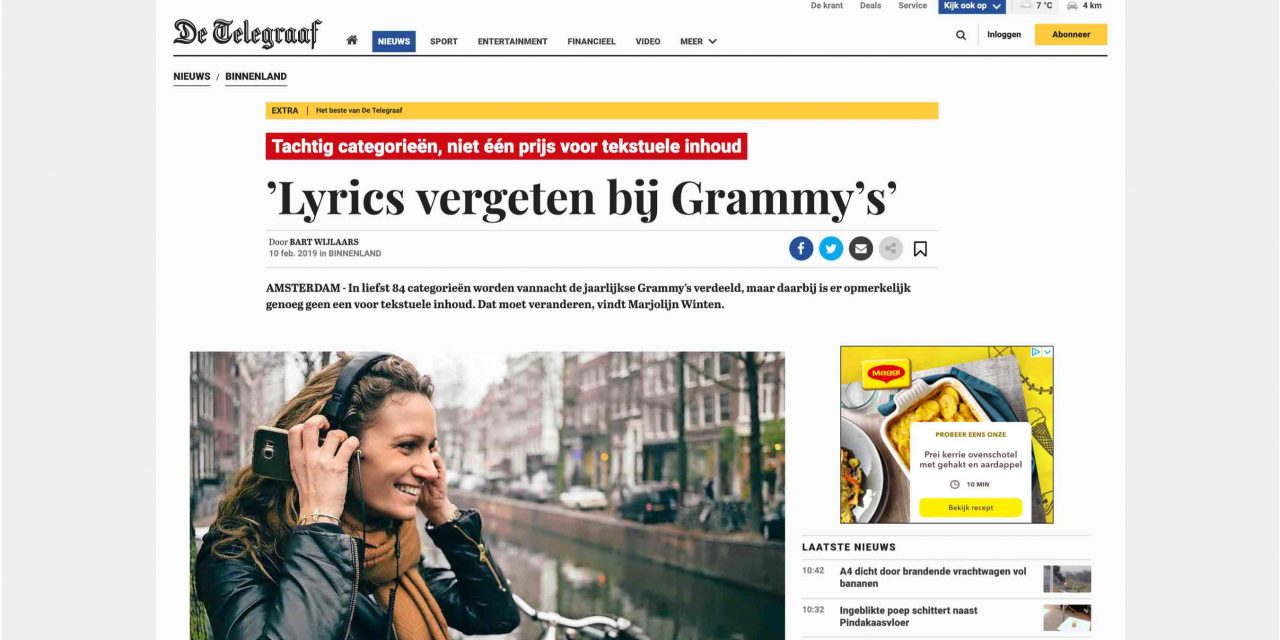 De Telegraaf features Nolala's Grammy campaign