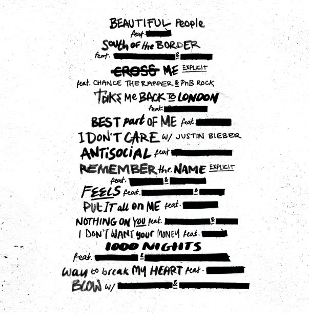 Tracklisting van Ed Sheeran's No.6 Collaborations Project